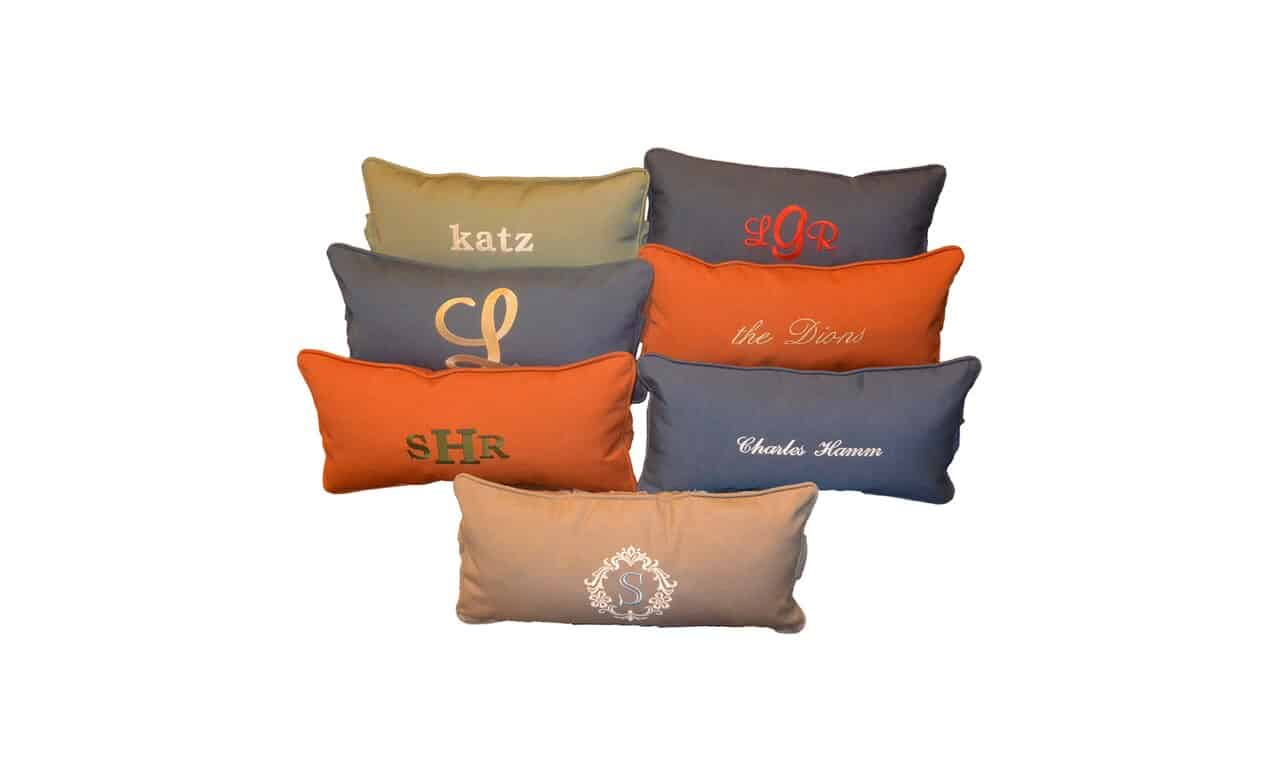 Ledge Lounger Signature Headrest pillows that have been personalized.