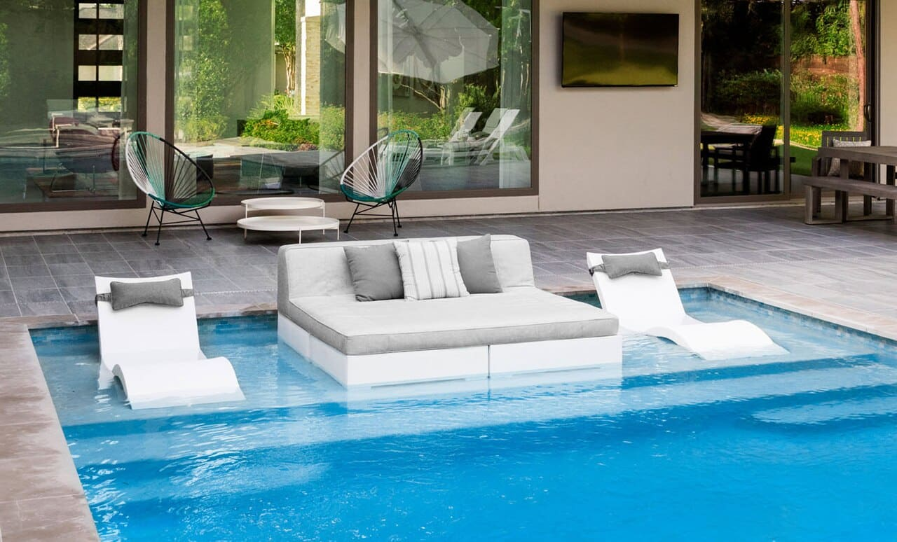 Affinity Square Sunbed with Backrest Cushion by Ledge Lounger.
