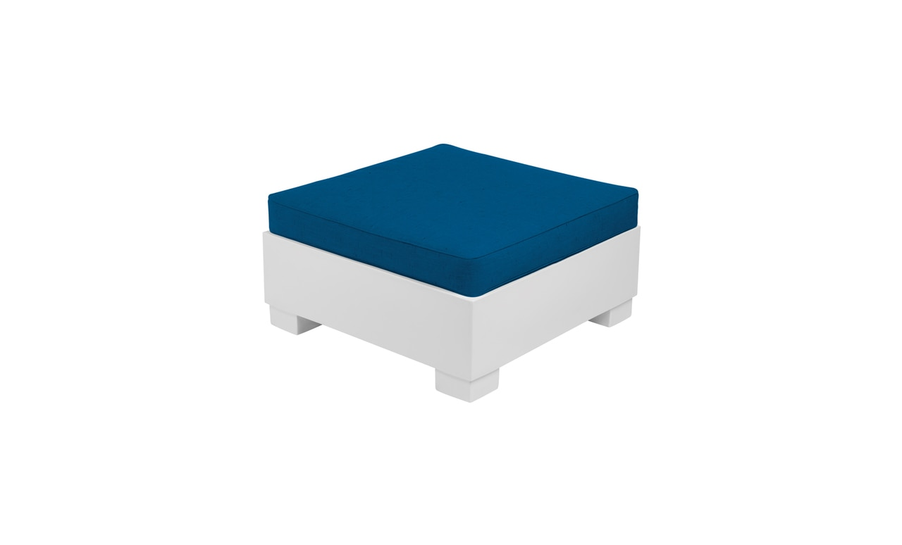 The Affinity Sectional Ottoman with brightly colored blue cushion.
