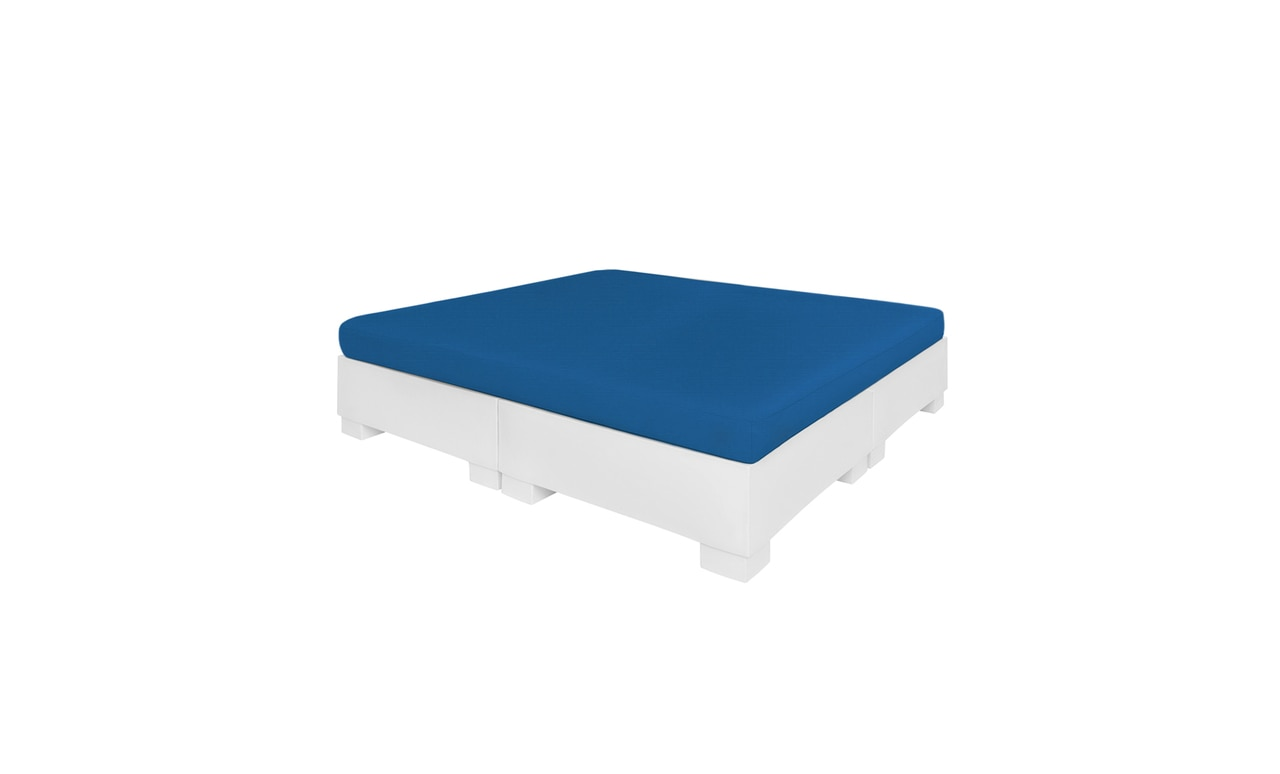 The Ledge Lounger Affinity Square Sunbed with blue cushion.