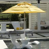 Ledge Loungers in pool and patio furniture is sleek and sophisticated.