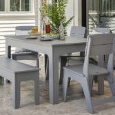 Brighten up your outdoor space with Ledge Lounger outdoor dining table and chairs.
