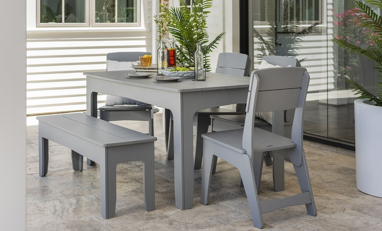 Ledge Lounger outdoor dining table is sophisticated and comfortable.