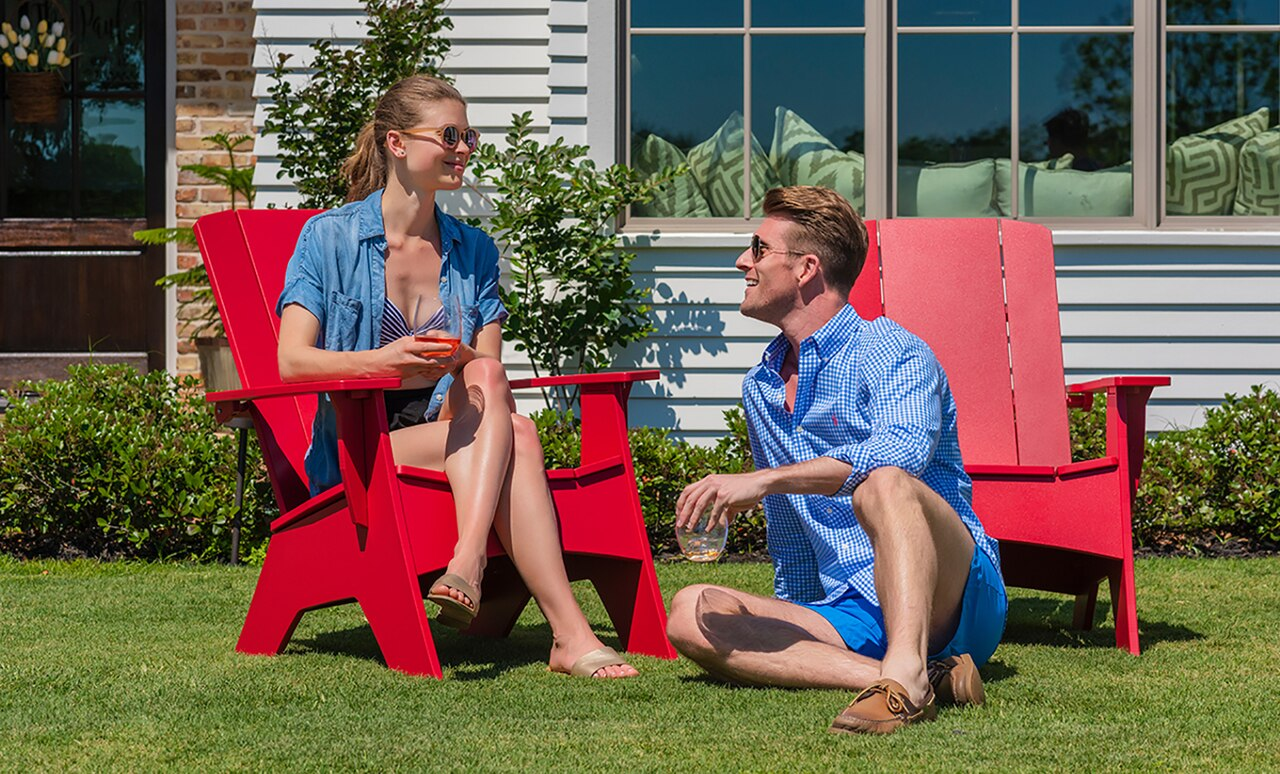 Adirondack chairs in bright colors add color and flare to your outdoor space.