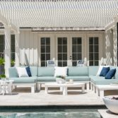 Beautiful outdoor space with a pool and Ledge Lounger sectional with colorful cushions.
