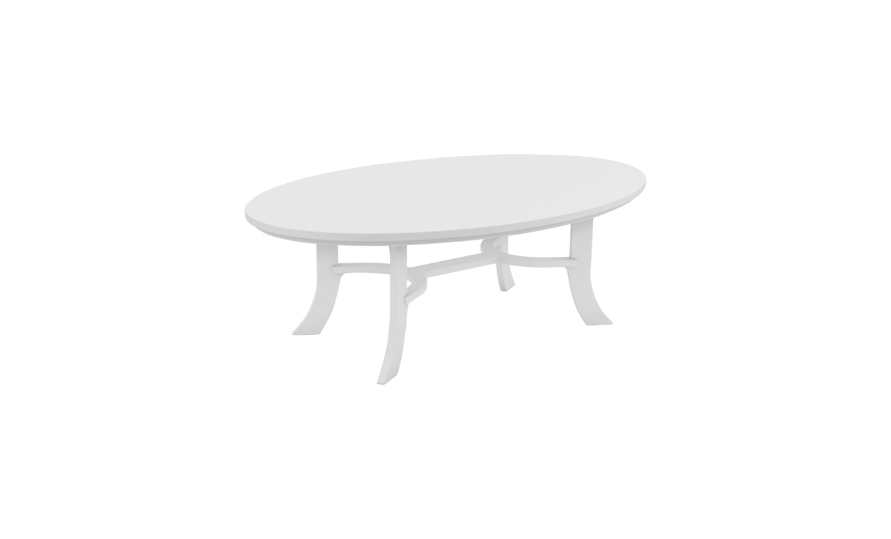 The Legacy Oval Coffee Table is a versatile piece of outdoor furniture.