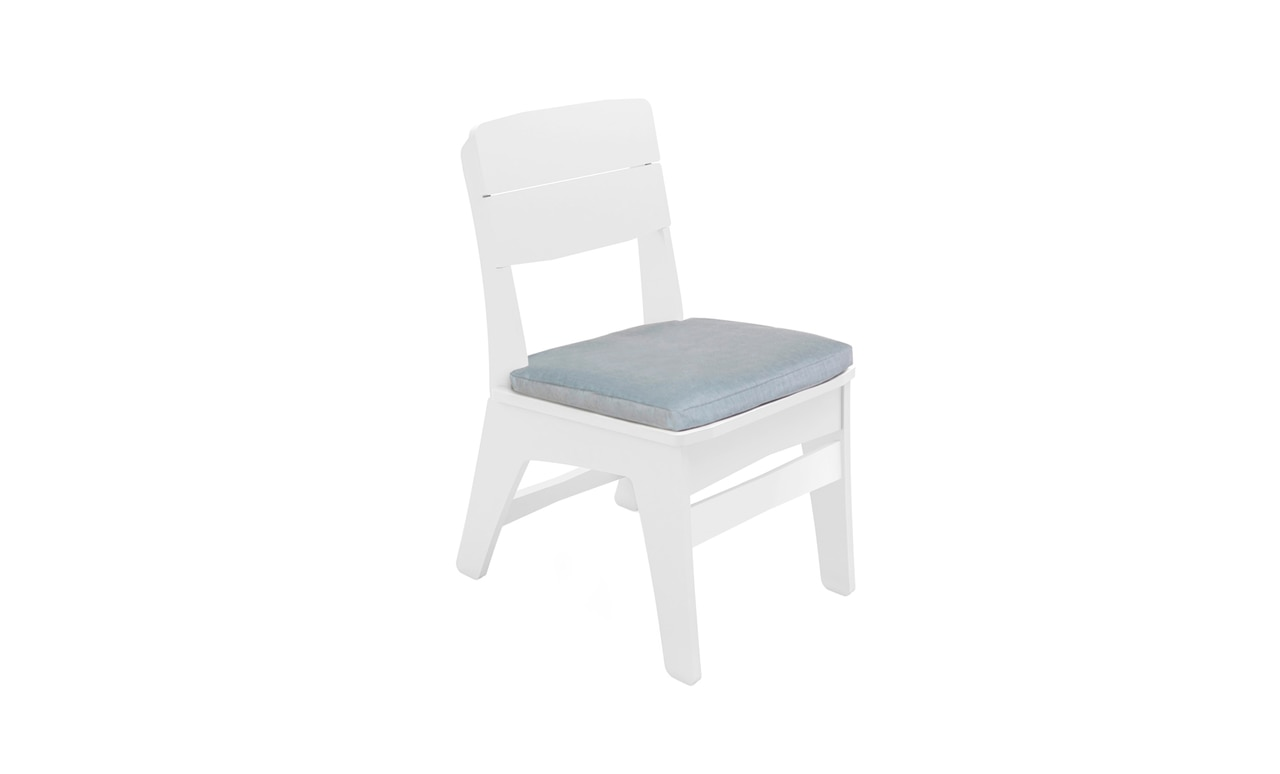 Mainstay cushion on a dining side chair by Ledge Lounger.