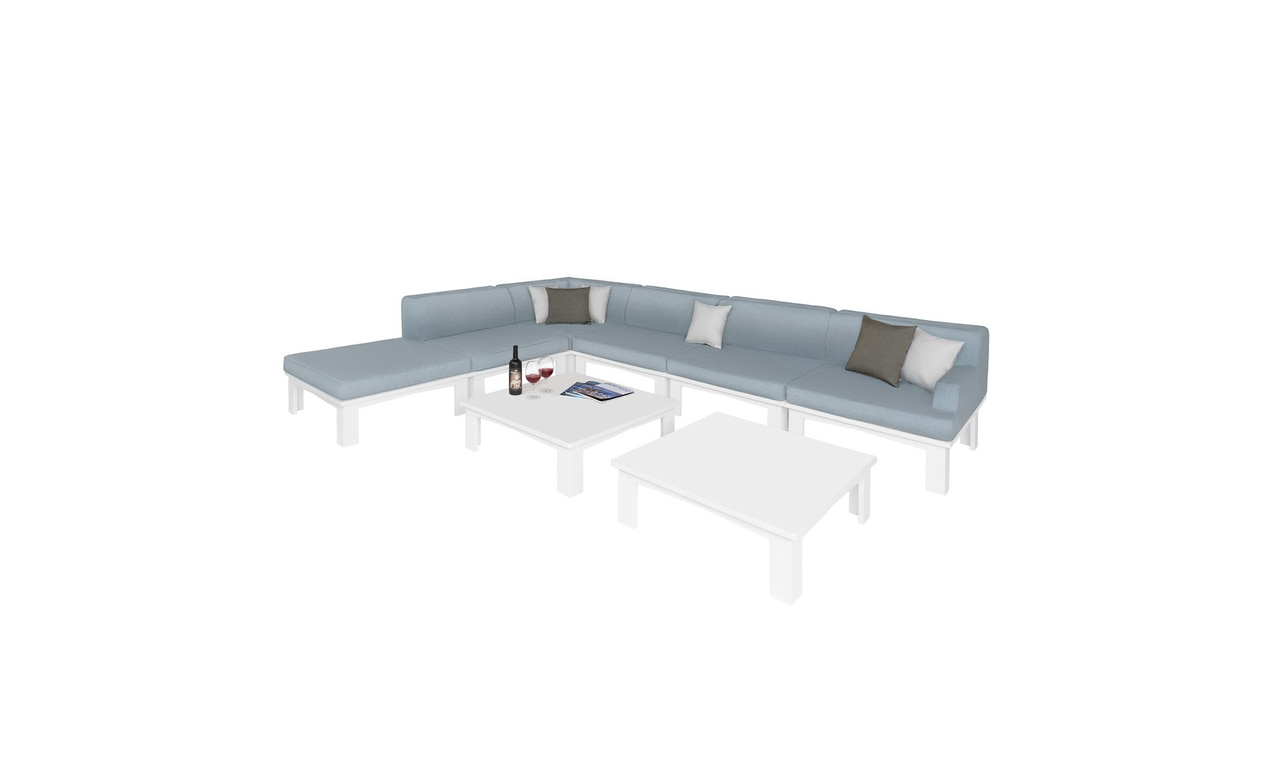 8 Piece Ledge Loungers Mainstay Section with pillows.