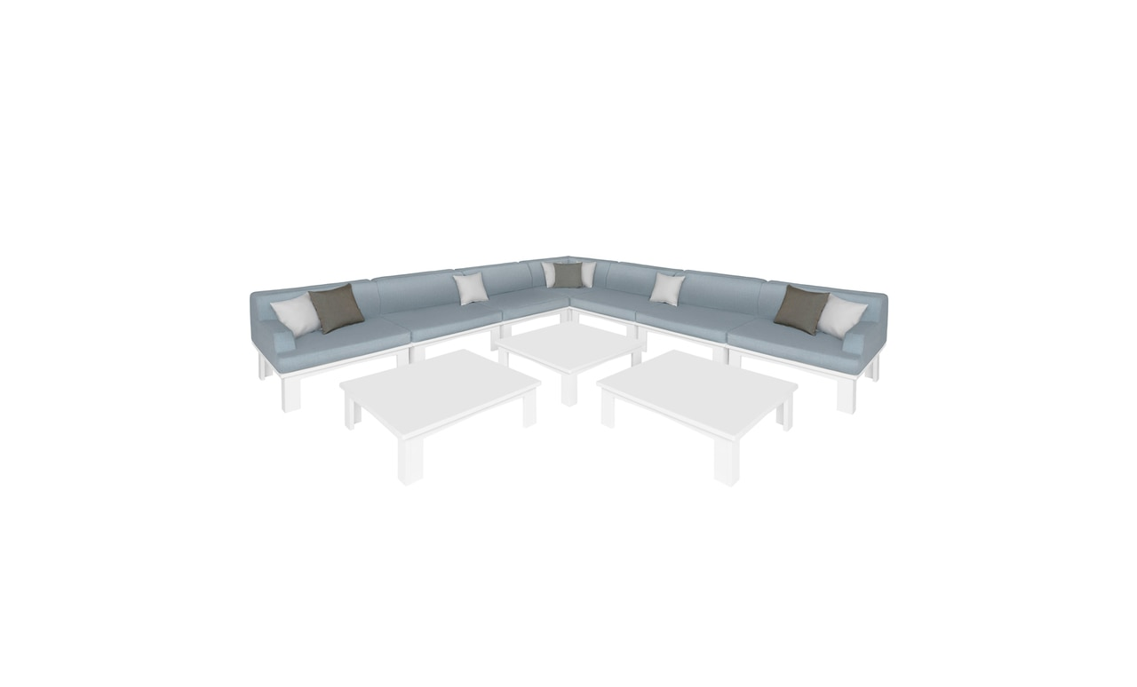 10 piece L-shaped sectional for outdoor use by Ledge Lounger.