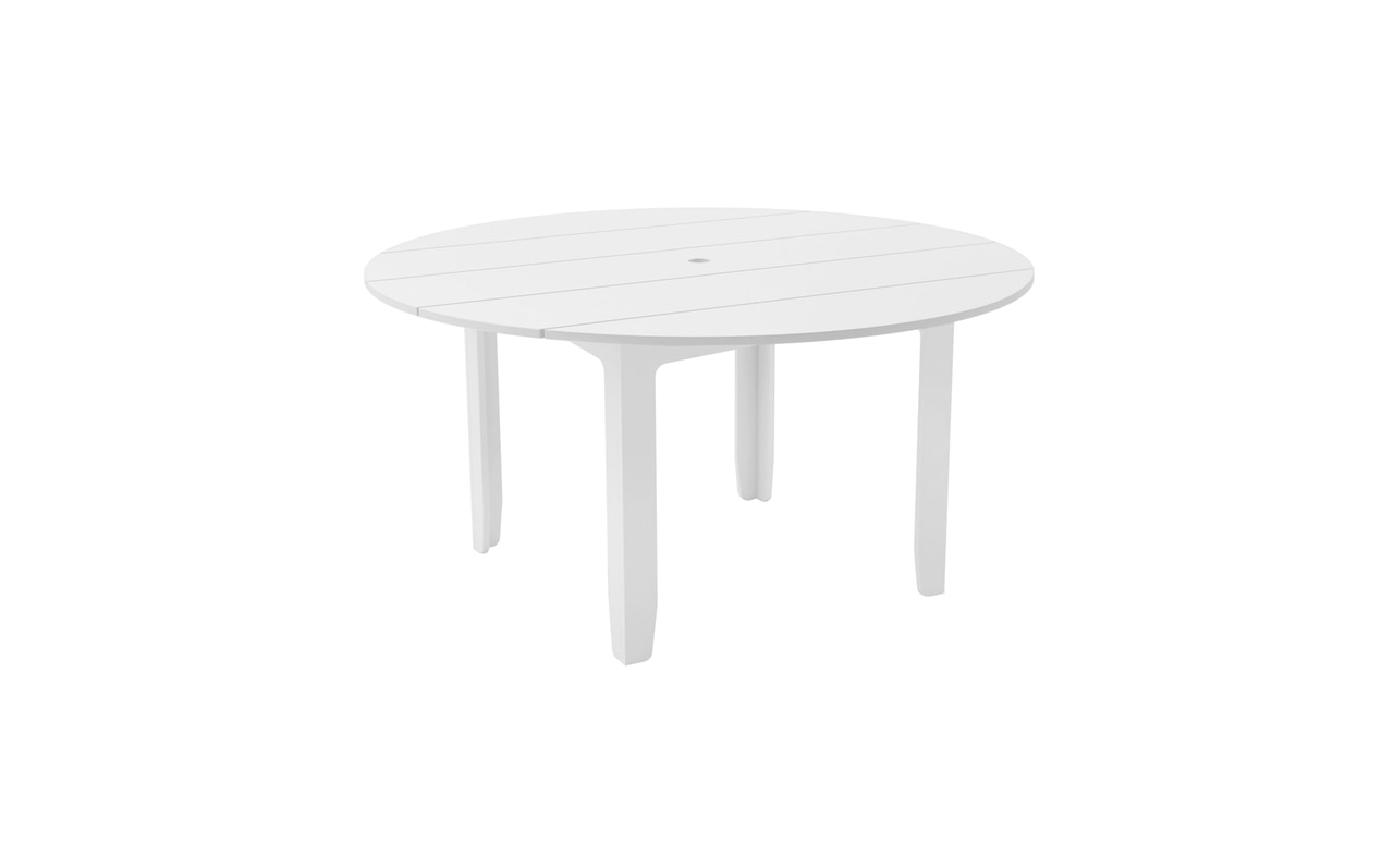 Ledge Lounger Mainstay round dining table in white.