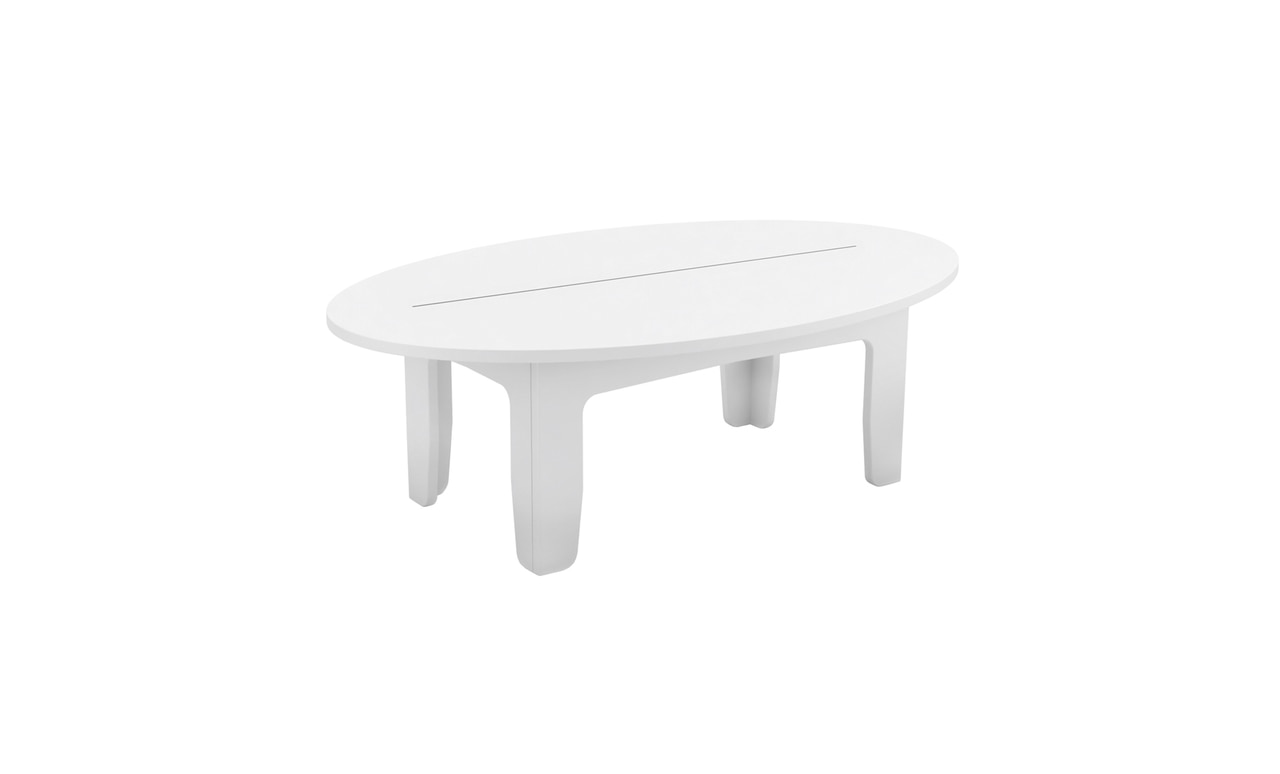 Ledge Lounger Mainstay Oval Coffee Table in white color offering.