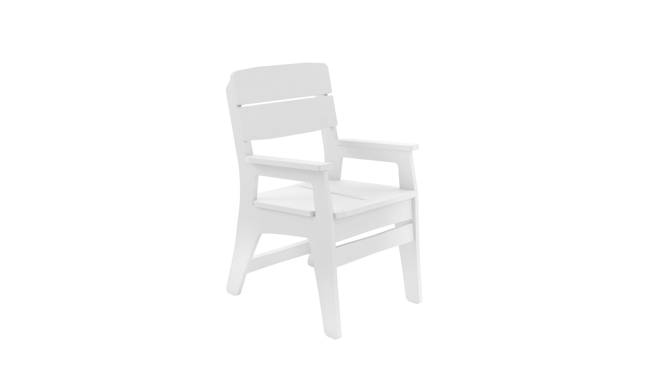Ledge Lounger Mainstay dining arm chair in white.