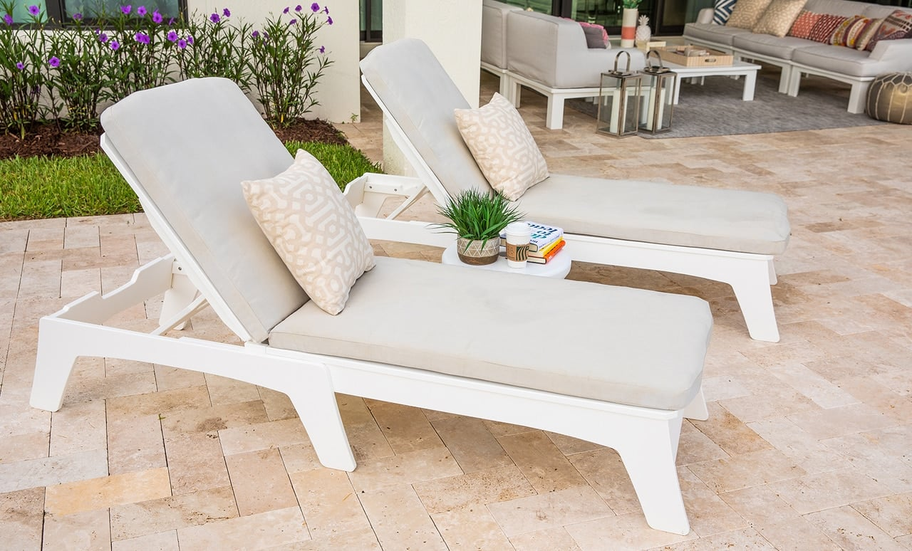Outdoor area beautifully staged with Ledge Lounger outdoor furniture.