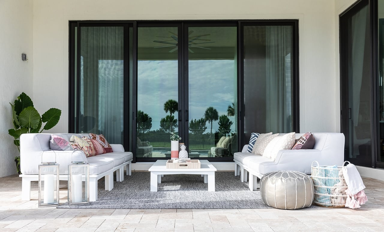 Gorgeous outdoor patio area with Ledge Lounger patio furniture.