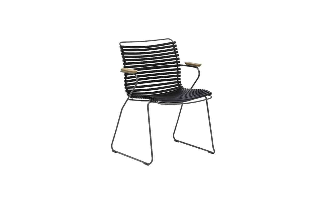 The Playnk Dining Armchair in sleek black color option.