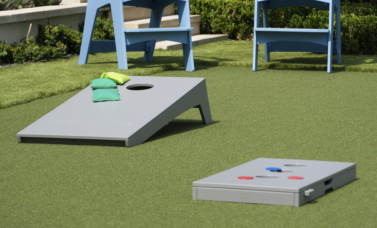 Ledge Lounger's cornhole set makes outdoor gaming more attractive than ever.