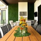 Playnk Rectangular Dining Table can be dressed up to make your outdoor space come to life.