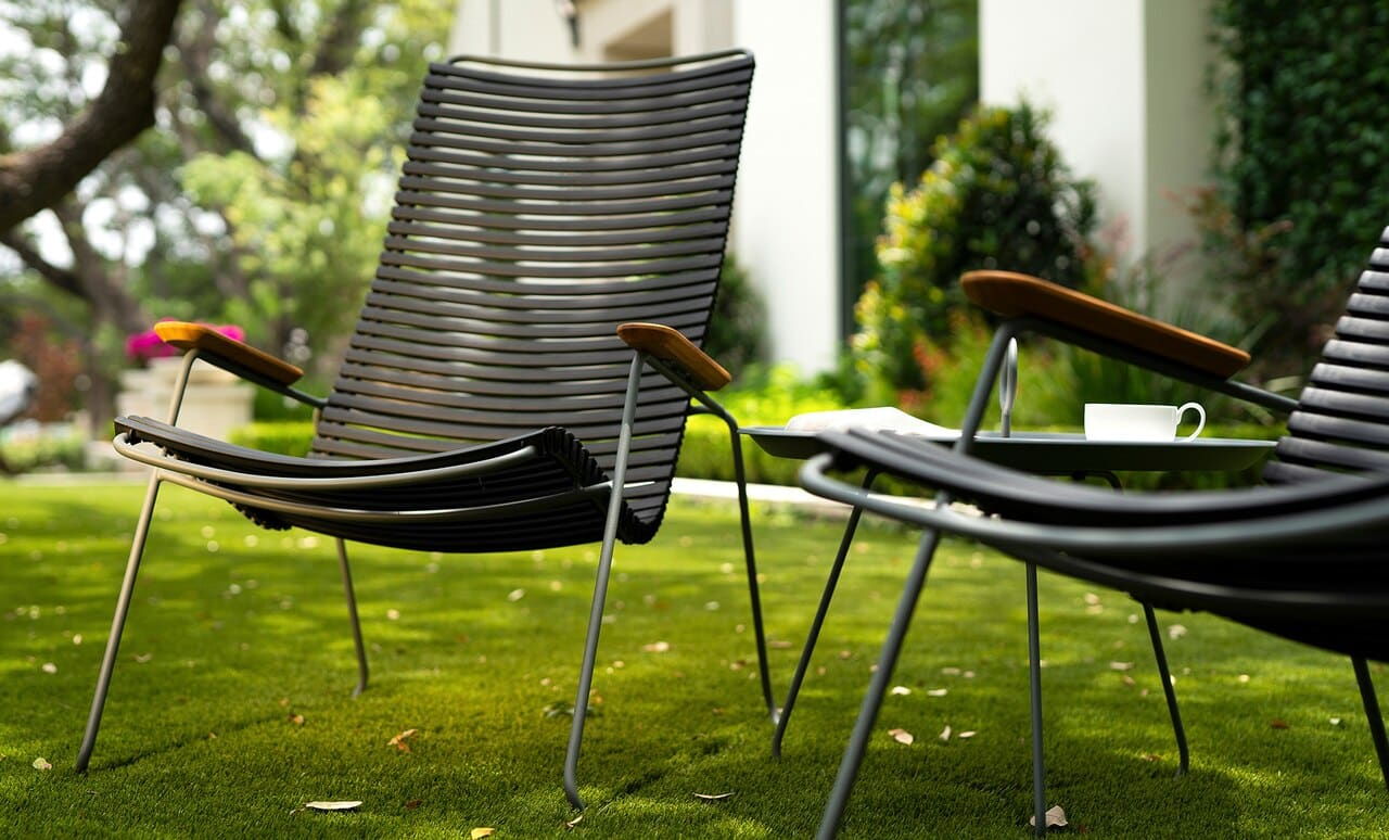 A pair of Playnk Lounge Chairs in the yard.