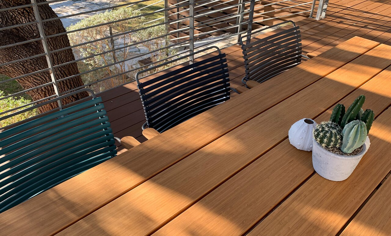 Playnk Rectangular Dining Table offers unique style for any outdoor dining area.