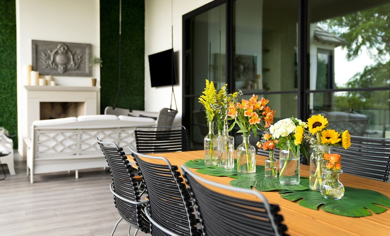 Playnk Rectangular Dining Table beautifully styled for an outdoor dining experience.