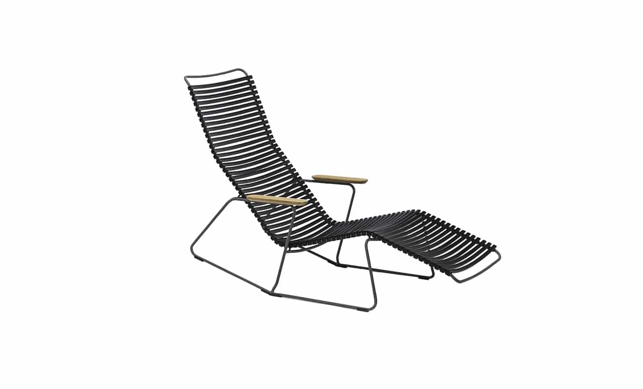 Playnk black chaise lounger is perfect for relaxing poolside.