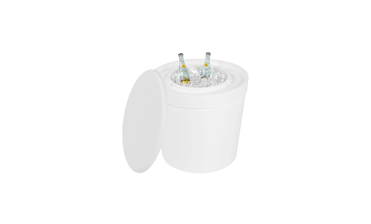 The Ledge Lounger Signature Side Table Ice Bin is the perfect mix of table and cooler.