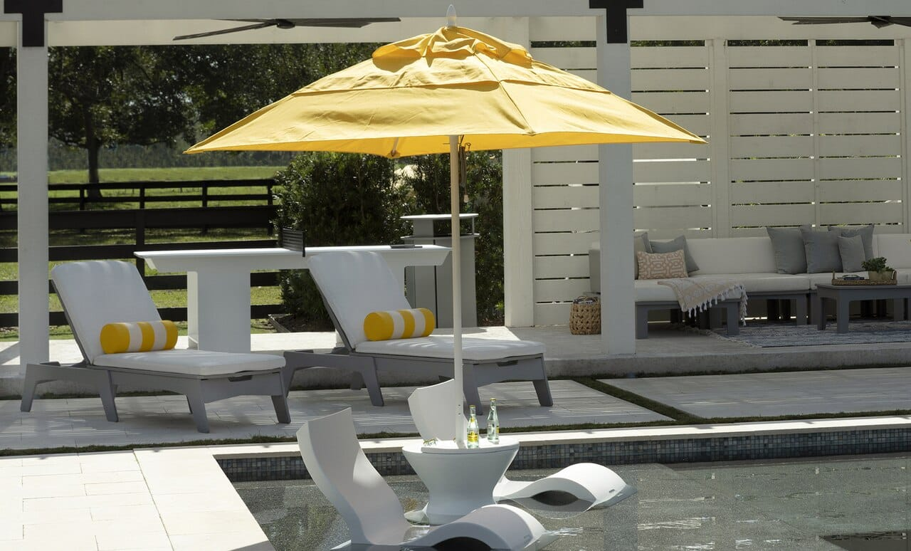 Ledge Lounger Umbrella in Sunflower Yellow fabric option.