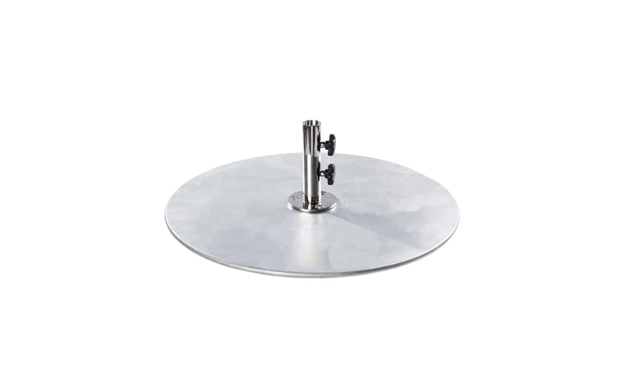 Galvanized steel umbrella base by Ledge Loungers