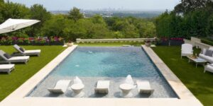 Arial shot of Ledge Lounger in pool furniture.